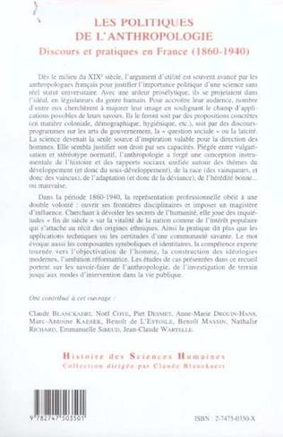 4eme LES POLITIQUES DE L'ANTHROPOLOGIE