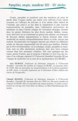 4eme PAMPHLET, UTOPIE, MANIFESTE XIXE - XXE SIÈCLES