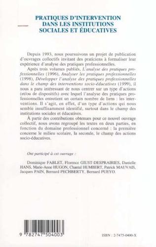 4eme PRATIQUES D'INTERVENTION DANS LES INSTITUTIONS SOCIALES ET ÉDUCATIVES