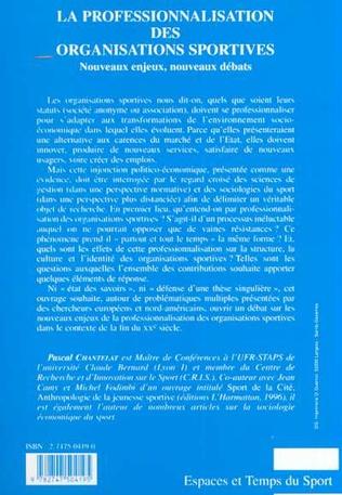 4eme LA PROFESSIONALISATION DES ORGANISATIONS SPORTIVES