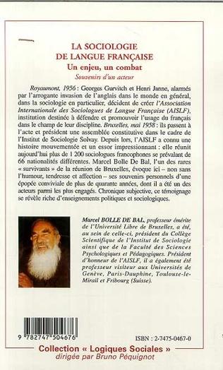 4eme LA SOCIOLOGIE DE LANGUE FRANÇAISE