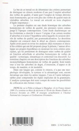 4eme L'EMPLOI ADVERBIAL DES VERBES DE QUALITÉ ET DES HOMONYMES EN CHINOIS MODERNE