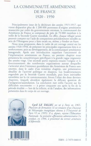 4eme LA COMMUNAUTÉ ARMÉNIENNE DE FRANCE 1920-1950