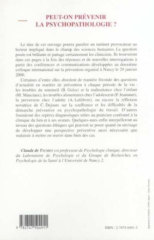 4eme PEUT-ON PRÉVENIR LA PSYCHOPATHOLOGIE ?