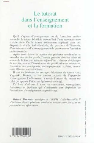 4eme LE TUTORAT DANS L'ENSEIGNEMENT ET LA FORMATION