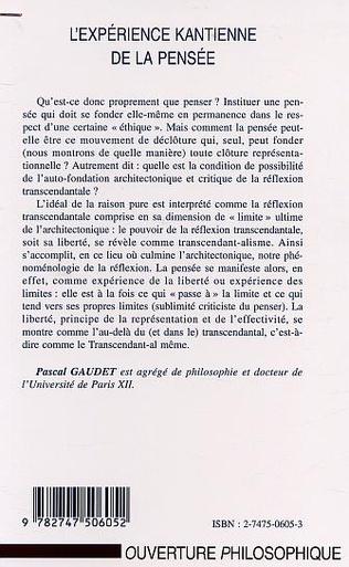4eme L'EXPÉRIENCE KANTIENNE DE LA PENSÉE