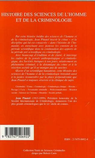 4eme HISTOIRE DES SCIENCES DE L'HOMME ET DE LA CRIMINOLOGIE