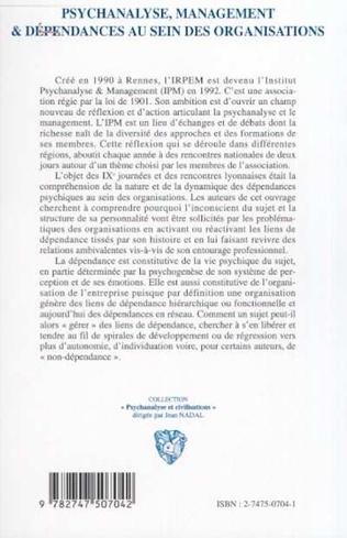 4eme PSYCHANALYSE MANAGEMENT ET DEPENDANCES AU SEIN DES ORGANISATIONS