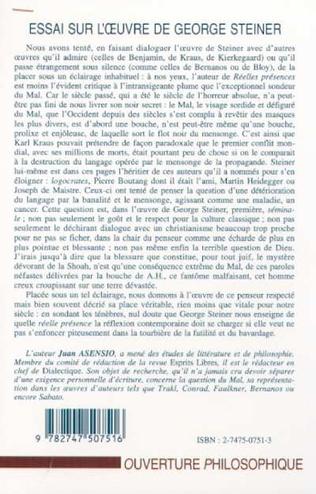 4eme ESSAI SUR L'ŒUVRE DE GEORGE STEINER