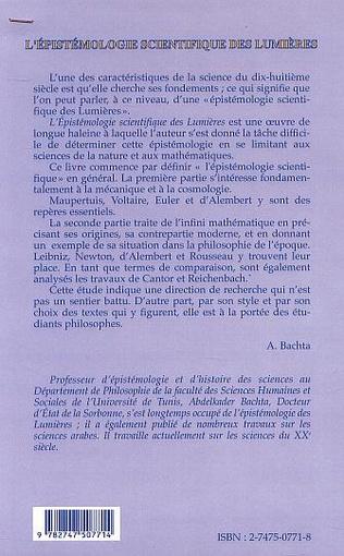 4eme L'ÉPISTÉMOLOGIE SCIENTIFIQUE DES LUMIÈRES