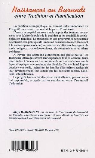 4eme NAISSANCES AU BURUNDI entre Tradition et Planification