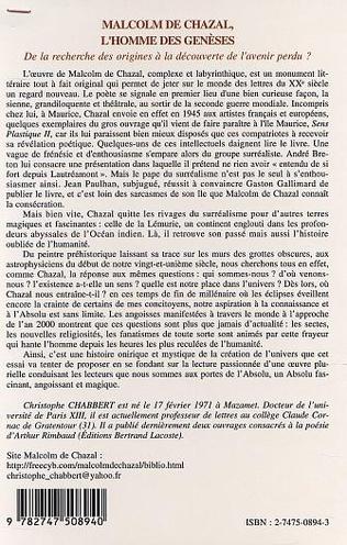 4eme MALCOM DE CHAZAL, L'HOMME DES GENESES