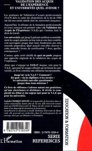 4eme VALIDATION DES ACQUIS DE L'EXPÉRIENCE ET UNIVERSITÉS QUEL AVENIR ?