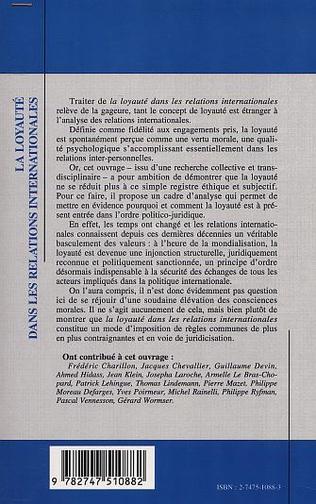 4eme LA LOYAUTÉ DANS LES RELATIONS INTERNATIONALES