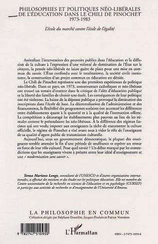 4eme PHILOSOPHIES ET POLITIQUES NÉO-LIBÉRALES DE L'ÉDUCATION DANS LE CHILI DE PINOCHET 1973-1983