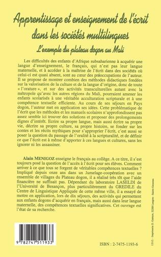 4eme APPRENTISSAGE ET ENSEIGNEMENT DE L'ECRIT DANS LES SOCIÉTÉS MULTILINGUES