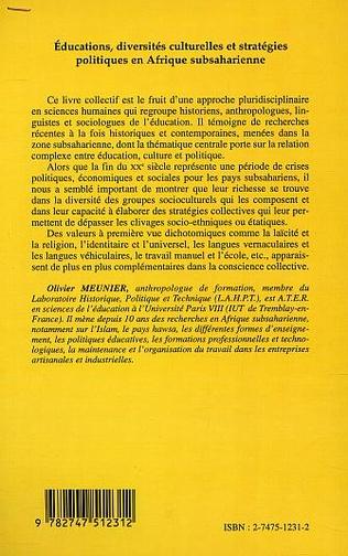 4eme EDUCATIONS, DIVERSITÉS CULTURELLES ET STRATÉGIQUES EN AFRIQUE SUBSAHARIENNE