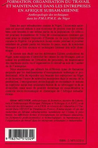 4eme FORMATION, ORGANISATION DU TRAVAIL ET MAINTENANCE DANS LES ENTREPRISES EN AFRIQUE SUBSAHARIENNE