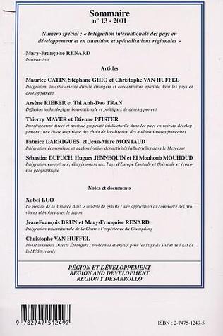4eme INTÉGRATION INTERNATIONALE DES PAYS EN DÉVELOPPEMENT ET EN TRANSITION ET SPÉCIALISATIONS RÉGIONALES