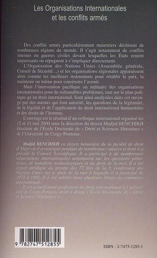 4eme LES ORGANISATIONS INTERNATIONALES ET LES CONFLITS ARMÉS