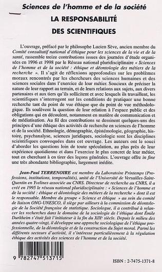 4eme LA RESPONSABILITÉ DES SCIENTIFIQUES