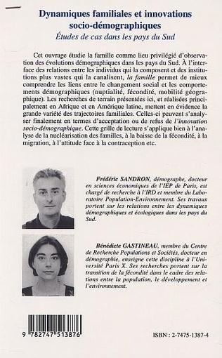 4eme DYNAMIQUES FAMILIALES ET INNOVATIONS SOCIO-DÉMOGRAPHIQUES