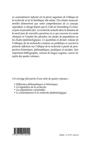 4eme Le consentement et la recherche épidémiologique