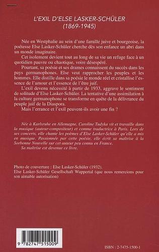 4eme L'EXIL D'ELSE LASKER-SCHÜLER (1869-1945)