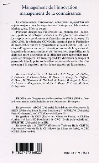 4eme MANAGEMENT DE L'INNOVATION, MANAGEMENT DE LA CONNAISSANCE