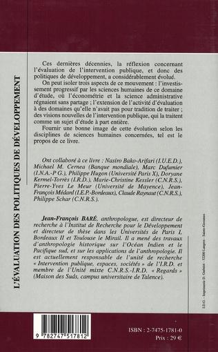 4eme L'ÉVALUATION DES POLITIQUES DE DÉVELOPPEMENT