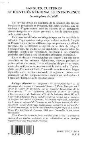 4eme LANGUES, CULTURES ET IDENTITES REGIONALES EN PROVENCE