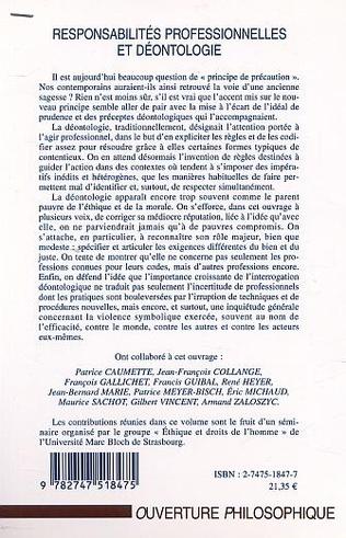 4eme RESPONSABILITÉS PROFESSIONNELLES ET DÉONTOLOGIE