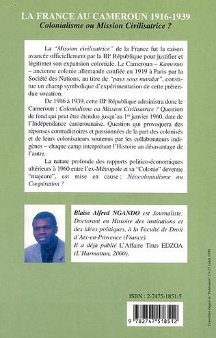 4eme LA FRANCE AU CAMEROUN 1916-1939