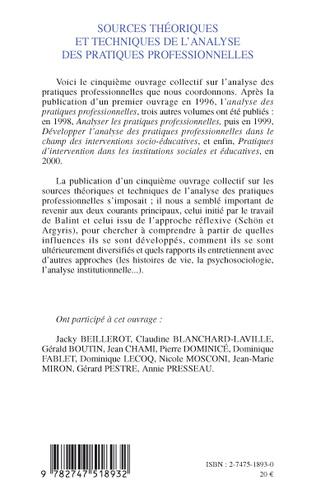 4eme SOURCES THÉORIQUES ET TECHNIQUES DE L'ANALYSE DES PRATIQUES PROFESSIONNELLES