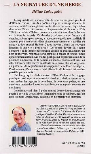 4eme LA SIGNATURE D'UNE HERBE