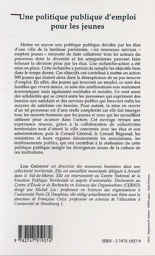 4eme UNE POLITIQUE PUBLIQUE D'EMPLOI POUR LES JEUNES