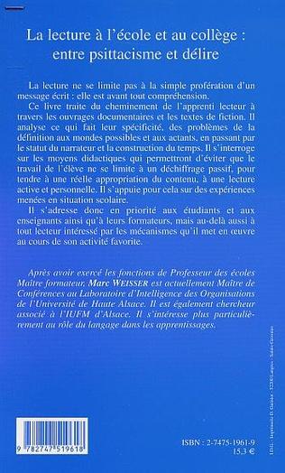 4eme LA LECTURE À L'ÉCOLE ET AU COLLÈGE : ENTRE PSITTACISME ET DÉLIRE