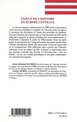 4eme ENJEUX DE L'HISTOIRE EN EUROPE CENTRALE