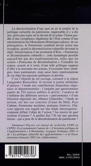 4eme PATRIMOINE CULTUREL ET DÉCENTRALISATION