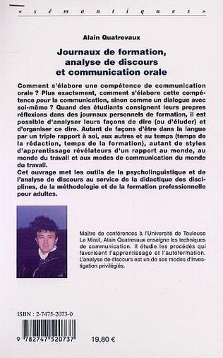 4eme JOURNAUX DE FORMATION, ANALYSE DE DISCOURS ET COMMUNICATION ORALE
