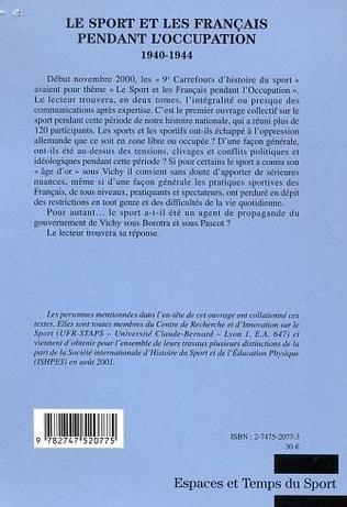 4eme LE SPORT ET LES FRANÇAIS PENDANT L'OCCUPATION 1940-1944