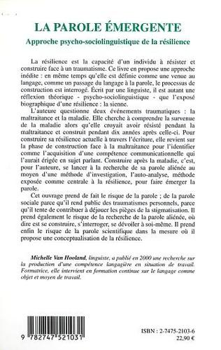 4eme LA PAROLE ÉMERGENTE, APPROCHE PSYCHO-SOCIOLINGUISTIQUE DE LA RÉSILIENCE