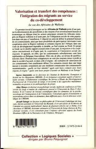 4eme VALORISATION ET TRANSFERT DES COMPÉTENCES : L'INTÉGRATION DES MIGRANTS AU SERVICE DU CO-DÉVELOPPEMENT