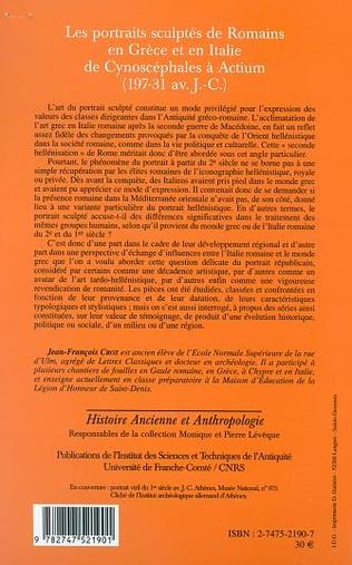 4eme LES PORTRAITS SCULPTÉS DE ROMAINS EN GRÈCE ET EN ITALIE DE CYNOSCEPHALES A ACTIUM (197-31 av J.-C.)