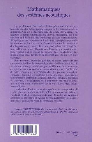 4eme MATHÉMATIQUES DES SYSTÈMES ACOUSTIQUES