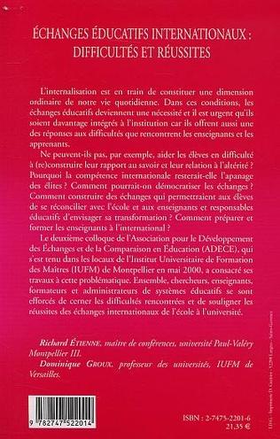 4eme ÉCHANGES ÉDUCATIFS INTERNATIONAUX : DIFFICULTÉS ET RÉUSSITES
