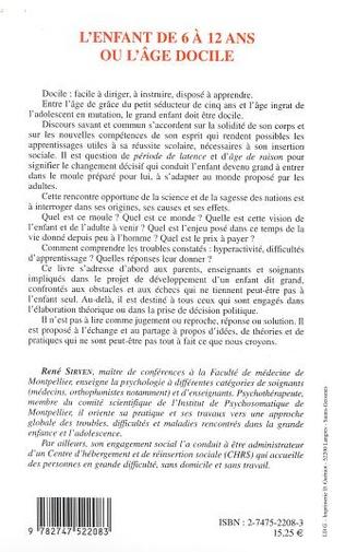 4eme L'ENFANT DE 6 À 12 ANS OU L'ÂGE DOCILE