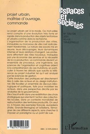4eme PROJET URBAIN, MAÎTRISE D'OUVRAGE, COMMANDE (n°105-106)