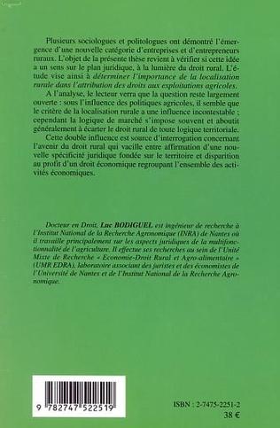 4eme L'ENTREPRISE RURALE : ENTRE ACTIVITÉS ÉCONOMIQUES ET TERRITOIRE RURAL