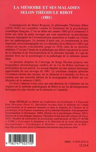4eme LA MÉMOIRE ET SES MALADIES SELON THÉODULE RIBOT (1881)
